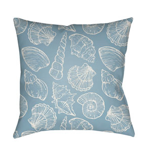 Shells III Blue and White 18 x 18-Inch Throw Pillow