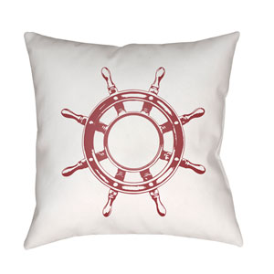 Nautical II Red and White 18 x 18-Inch Throw Pillow