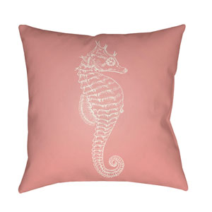 Seahorse Pink and Neutral 18 x 18-Inch Throw Pillow