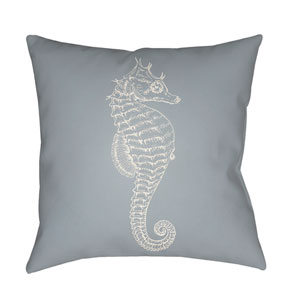 Seahorse Blue and Neutral 18 x 18-Inch Throw Pillow
