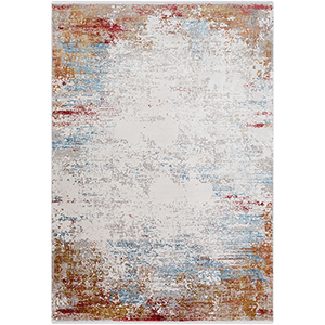 Solar Burnt Orange and Sky Blue Rectangular: 2 Ft. x 3 Ft. Rug