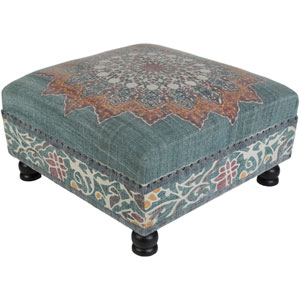 Surat Teal and Orange Ottoman