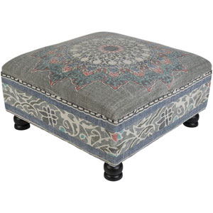Surat Blue and Pink Ottoman