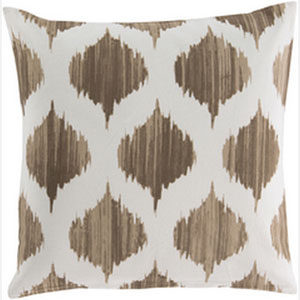 Exquisite in Ikat Mocha and Ivory 22-Inch Pillow with Poly Fill