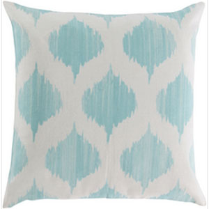 Exquisite in Ikat Mint and Ivory 22-Inch Pillow with Down Fill