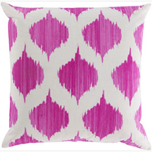 Exquisite in Ikat Magenta and Ivory 18-Inch Pillow with Poly Fill