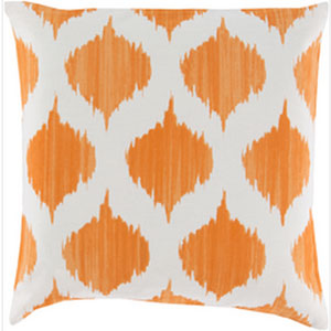 Exquisite in Ikat Burnt Orange and Ivory 18-Inch Pillow with Poly Fill