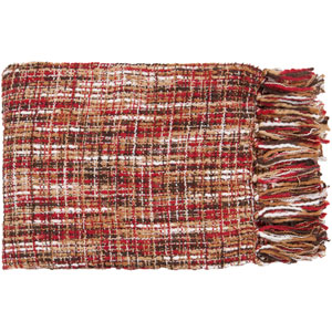 Tabitha Red and Tan Mixed Woven Throw