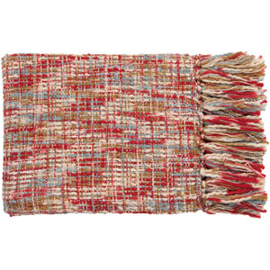 Tabitha Red and Sky Mixed Woven Throw