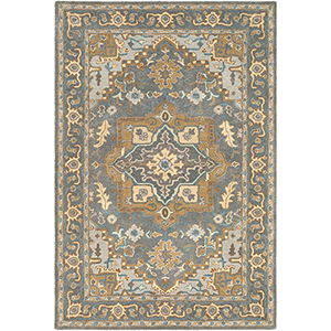 Tabriz Tan and Teal Rectangular: 5 Ft. x 7 Ft. 6 In. Rug