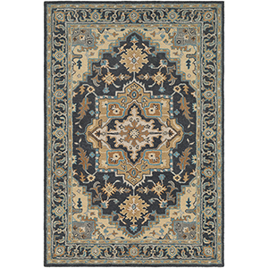 Tabriz Charcoal and Beige Rectangular: 5 Ft. x 7 Ft. 6 In. Rug