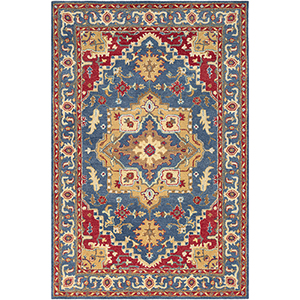 Tabriz Red and Blue Rectangular: 5 Ft. x 7 Ft. 6 In. Rug