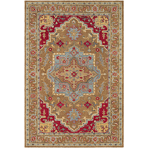 Tabriz Tan and Red Rectangular: 8 Ft. x 10 Ft. Rug