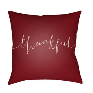 Red Thankful 20-Inch Throw Pillow with Poly Fill