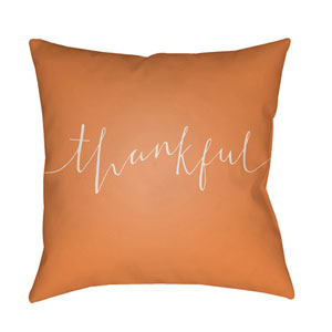 Orange Thankful 18-Inch Throw Pillow with Poly Fill
