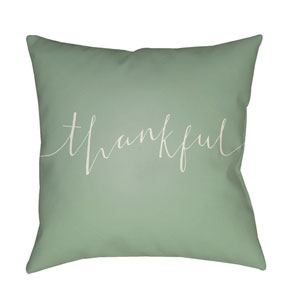 Green Thankful 20-Inch Throw Pillow with Poly Fill