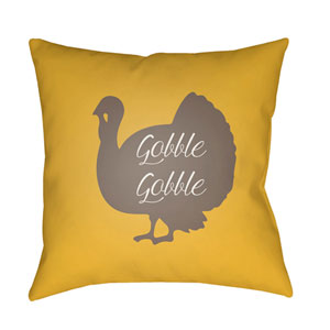 Yellow Turkey 18-Inch Throw Pillow with Poly Fill