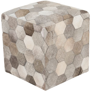 Neutral and Brown Trail Cube Pouf
