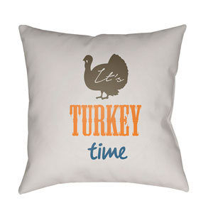 White Its Turkey Time 18-Inch Throw Pillow with Poly Fill