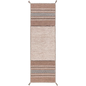 Trenza Light Gray and Taupe Runner: 2 Ft 6 In x 8 Ft Rug
