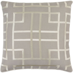 Tate Light Gray and Beige 18-Inch Pillow with Poly Fill