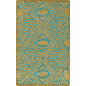 Tulemola Olive and Teal Rectangular: 2 Ft x 3 Ft Rug
