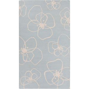 Textila Sky Blue and Light Gray Rectangular: 2 Ft x 3 Ft Rug