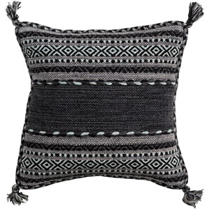 Trenza Black and Gray 20-Inch Pillow Cover