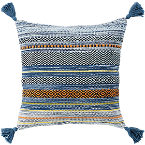 Trenza Blue and Orange 22 In. x 22 In. Pillow with Down Insert
