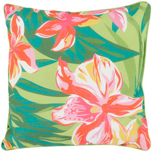 Ulani Flower Hot Pink and Poppy 16-Inch Pillow with Poly Fill