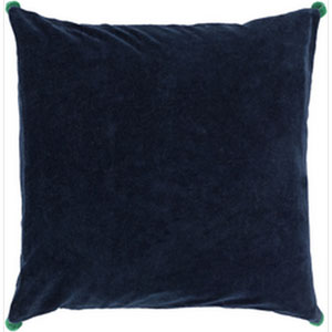 Vivacious Velvet Navy 22-Inch Pillow with Down Fill