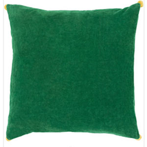Vivacious Velvet Emerald 22-Inch Pillow with Poly Fill