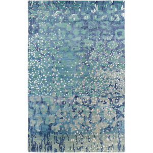 Watercolor Sea Foam and Sky Blue Rectangular: 2 Ft x 3 Ft Rug