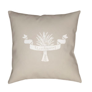 Beige Wheat 20-Inch Throw Pillow with Poly Fill