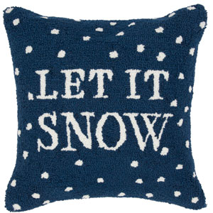 Winter Navy and White 18 x 18-Inch Throw Pillow