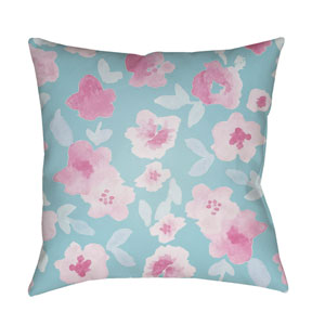 Flowers Blue and Pink 18 x 18-Inch Throw Pillow