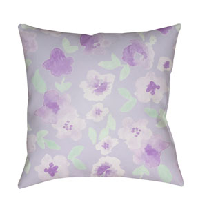 Flowers Purple and Green 18 x 18-Inch Throw Pillow
