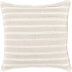 Charm and Comfort Taupe and Ivory 22-Inch Pillow with Poly Fill