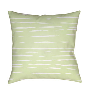 Painted Stripes Green and White 20 x 20-Inch Throw Pillow