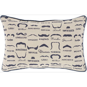 Mike Farrell Mustache Beige and Cobalt 22-Inch Pillow with Down Fill