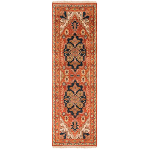 Zeus Cherry and Beige Runner: 2 Ft 6 In x 8 Ft Rug