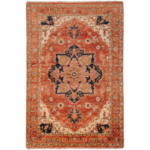 Zeus Rust and Navy Rectangular: 5 Ft. 6 In. x 8 Ft. 6 In. Rug