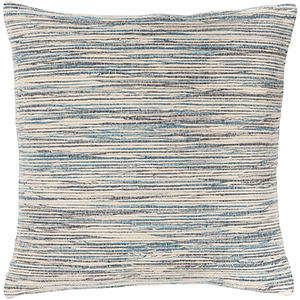 Zuma Beige and Blue 18 In. x 18 In. Pillow with Down Insert