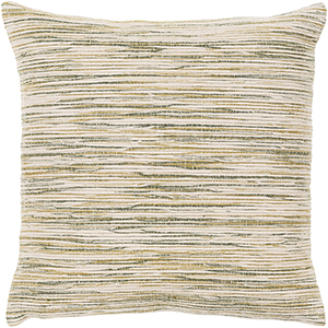 Zuma Beige and Olive 18 In. x 18 In. Pillow with Polyester Insert