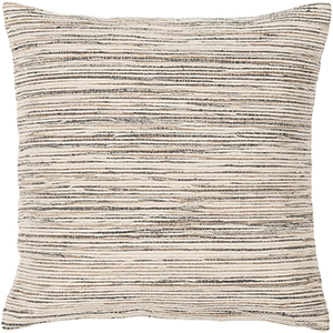 Zuma Beige and Black 18 In. x 18 In. Pillow with Down Insert