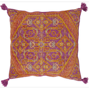 Vintage Heirloom Magenta and Burnt Orange 30-Inch Pillow with Down Fill