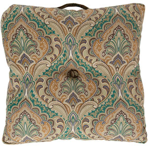 22-Inch Square Green and Brown Multi-Color Paisley Polyester Floor Cushion
