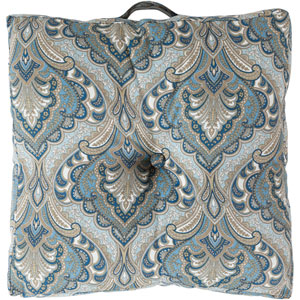 22-Inch Square Blue Multi-Color Paisley Polyester Floor Cushion