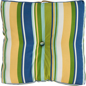 Storm Blue and Green Stripe Cover Pillow
