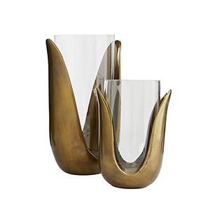 Sonia Antique Brass Vase, Set of Two